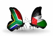 Two Butterflies With Flags On Wings As Symbol Of Relations South Africa And Palestine