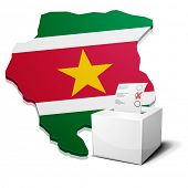 detailed illustration of a ballotbox in front of a map of Suriname, eps10 vector