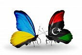 Two Butterflies With Flags On Wings As Symbol Of Relations Ukraine And Libya