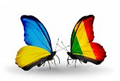 Two Butterflies With Flags On Wings As Symbol Of Relations Ukraine And Mali