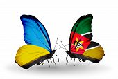 Two Butterflies With Flags On Wings As Symbol Of Relations Ukraine And Mozambique
