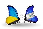 Two Butterflies With Flags On Wings As Symbol Of Relations Ukraine And Nicaragua