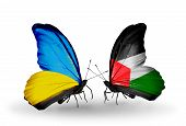 Two Butterflies With Flags On Wings As Symbol Of Relations Ukraine And Palestine