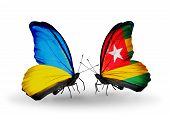 Two Butterflies With Flags On Wings As Symbol Of Relations Ukraine And  Togo