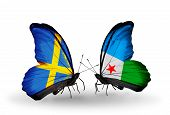 Two Butterflies With Flags On Wings As Symbol Of Relations Sweden And Djibouti