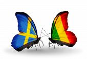 Two Butterflies With Flags On Wings As Symbol Of Relations Sweden And Mali