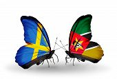 Two Butterflies With Flags On Wings As Symbol Of Relations Sweden And Mozambique
