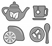 Set Gray Tea Set Icons