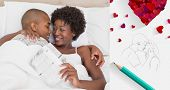 Happy couple lying in bed cuddling against sketch of kissing couple with pencil
