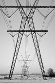 Power Pylons In The Snow