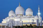 Famous Abu Dhabi Sheikh Zayed Mosque By Night