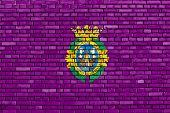 Flag Of Cadiz Painted On Brick Wall