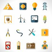 picture of electricity pylon  - Electricity icons set with tester engineer socket electric power equipment isolated vector illustration - JPG