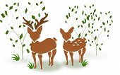 picture of deer family  - Illustration of couple of deer standing between trees - JPG