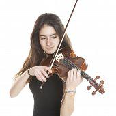 Teenage Girl Plays Violin In Studio