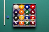 Billiard Balls Set In A  Box Side View