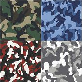 foto of camouflage  - Set of four seamless camouflage fabric patterns - JPG