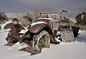 Abandoned Truck in Desert Snow