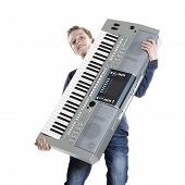 Teenage Boy With Keyboard In Studio