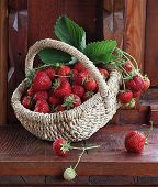 Fresh Ripe Strawberry In A Wattled Basket