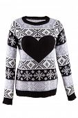 Knitted female sweater with heart isolated on a white background