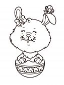 Girl easter bunny outline