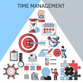 stock photo of pyramid shape  - Time management concept with successful business planning working and leadership decorative icons in pyramid shape vector illustration - JPG