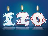 Birthday candle number 120 with flame - eps 10 vector illustration