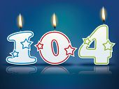 Birthday candle number 104 with flame - eps 10 vector illustration
