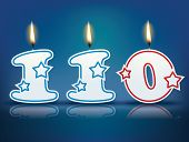 Birthday candle number 110 with flame - eps 10 vector illustration
