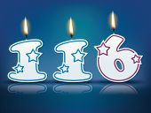 Birthday candle number 116 with flame - eps 10 vector illustration