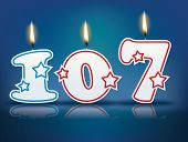 Birthday candle number 107 with flame - eps 10 vector illustration