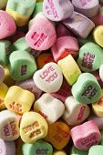 stock photo of valentine candy  - Colorful Candy Conversation Hearts for Valentine - JPG