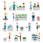foto of supermarket  - People in supermarket with shopping carts and baskets set isolated vector illustration - JPG