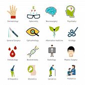 pic of geriatric  - Medical specialties icons set with dermatology optometry neurosurgery psychiatry isolated vector illustration - JPG