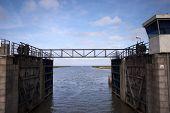Small Steel Bridge Over Lock Chamber