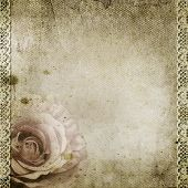 Vintage Background With Rose, Lace