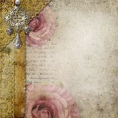 Vintage Background With  Roses, Lace, Text I Love You Over Retro Paper
