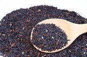 Black Glutinousrice In Wooden Spoon