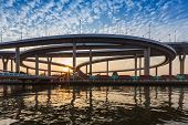 Sunset at Bhomipoon Bridge crosses the Chao Phraya River