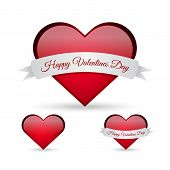 Happy Valentines Day - ribbon sign over heart illustration