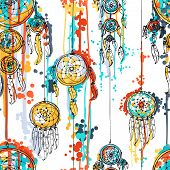 pic of dream-catcher  - Seamless vector illustration with dream catchers - JPG