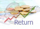 Diagram Upwards Return With Color Gradient And Euro Symbol