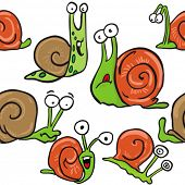 snail seamless pattern on white
