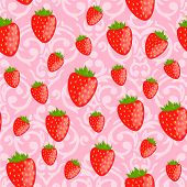 Vector Cute Pink Seamless Valentine's Day Pattern With Red Strawberries