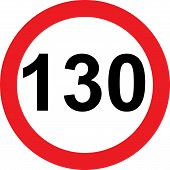 130 speed limitation road sign