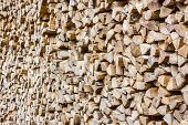 A Stack Of Birch Firewood - A Natural Horizontal Background