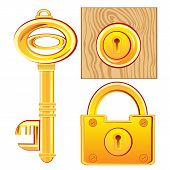Gold key and lock