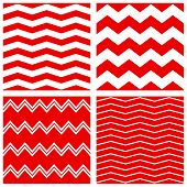 Tile vector background collection with red and white zig zag