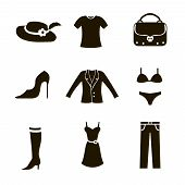clothes icon set woman